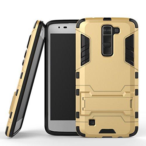 WindCase LG K7 Case, LG Tribute 5 Hülle, Hybrid Tasche Heavy Duty Defender [Drop Resistance] Dual Layer TPU +PC Case Ständer Schutzhülle für LG K7 / Tribute 5 Gold (Lg Tribute Defender Case Bling)