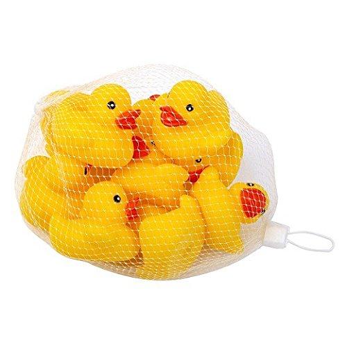 S/O® 10er Pack Gummiente Gelb 5cm im Netz Badeente Bade Ente Enten Badeenten Gummienten