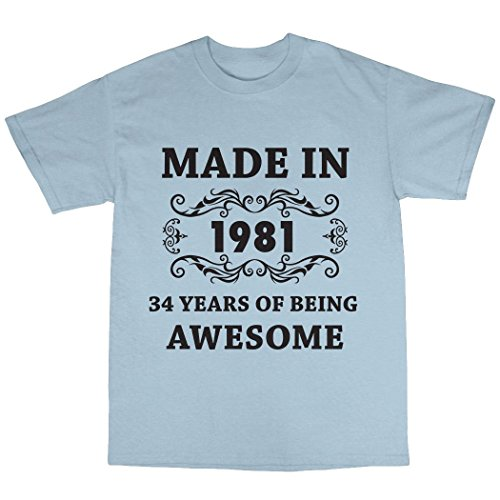 Made In 1981 T-Shirt 100% Baumwolle Hellblau