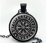 1pcs nórdico vikingo Cruz en Círculo de runas colgante joyas cristal cabujón collar hecho a mano joyería de cúpula de cristal