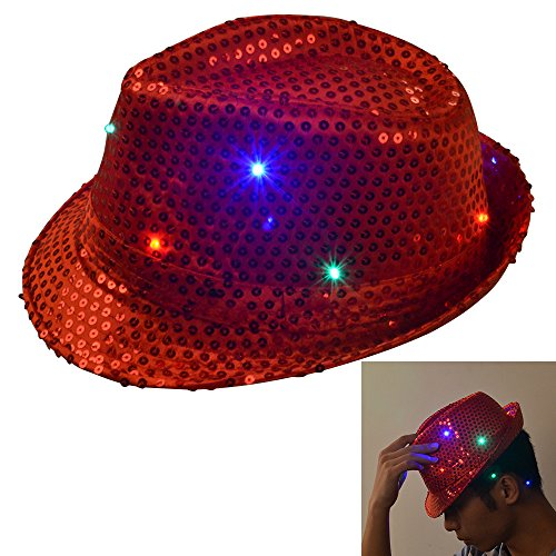 Bonamana LED blinkt Fedora Hut Trilby Hut Dome für Unterhaltung (Kardinal Kostüm Hut Rotes)