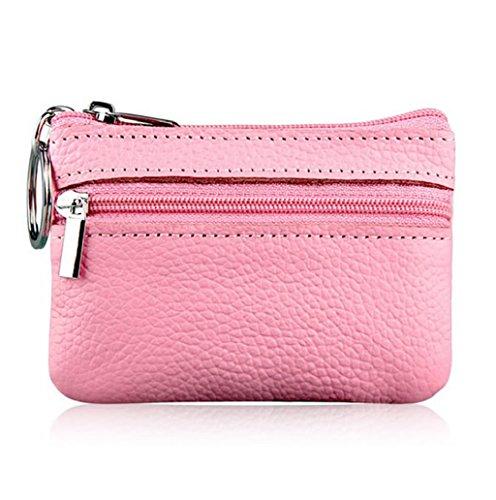 Dairyshop Borsa donna Portafoglio, Borsa sacchetto sacchetto raccoglitore cuoio genuino chiusura lampo holding moneta carta donne degli uomini molli (Rosso) Rosa