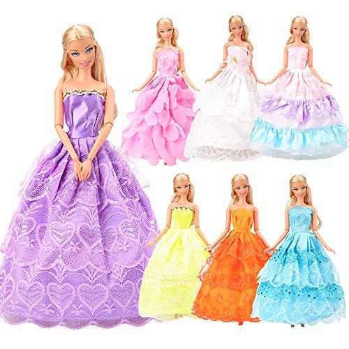 Miunana 7er Pack Kleider & Kleidung für Barbie-Puppe Abendkleid Hochzeit für Barbie Doll Xmas Weihnachten Geschenke