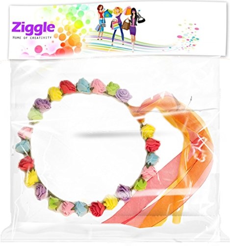 Ziggle Beautiful Multicolor Roses tiara hairband with ribons party costume party tiara headband