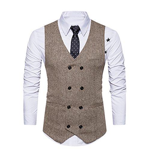 YCHENG Herrenweste Elegant Retro Tweed Stilvoll Anzugweste Business Freizeit Weste Beige Medium