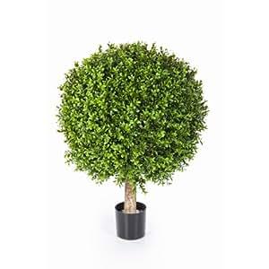 Boule de buis artificiel TOM sur tronc, 2628 feuilles, 85 cm, Ø 70 cm – buis plastique / plante artificielle buis - artplants