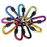 Moschettone, Moschettoni in Alluminio 10 pezzi Colors Assortiti D-ring Portachiavi Moschettone per Zaino Handpack Corde CampeggioTrekking