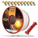 135dB 50m HB-Digital REINES KUPFER SAT KOAXial Antennen KABEL weiß weiss UHD 4K inkl. Abisolierer und 10x F-Stecker (vergoldet)