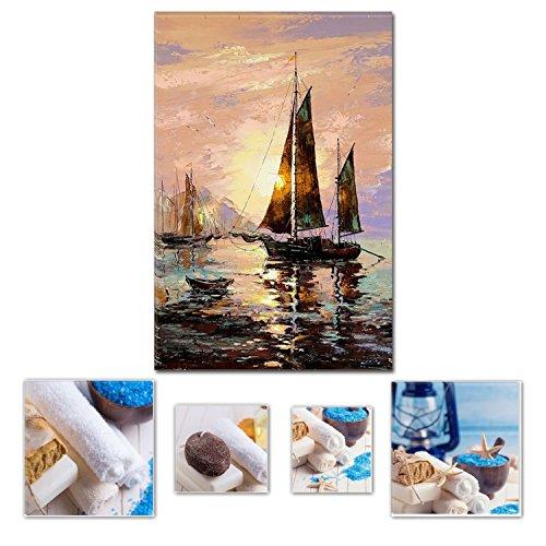 Eco Light Art Wand Leinwand Bundle Schöne Segeln Boot, Auf die Seashore 60x 90cm für Home Décor und Charming Badezimmer Spa Collage-Set von 4gerahmt Kunstwerk. (Schokolade Boot Kids)