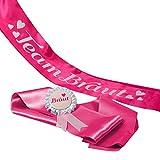 JGA Gruppenset Schärpen pink Frau Wundervoll - Team Braut -Inhalt für 1 Braut und 6 Freundinnen- Junggesellinnenabschied / Hen Party / Anstecker / Brautschärpe