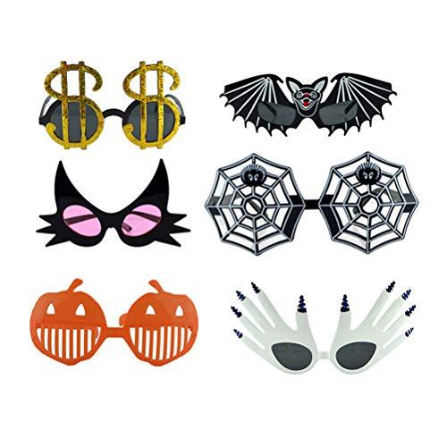 NUOBESTY 6pcs lustige Glas-Partei-Kostüm-Sonnenbrille für Halloween-Maskerade-Festival-Bevorzugungen