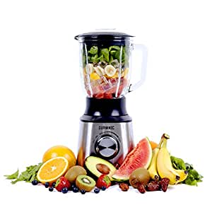 Duronic BL10 Blender / Mixeur puissant de 1000W en acier inoxydable avec carafe de 1,5 litre - Idéal pour Smoothies, Milkshakes, Gaspachos, Compotes, Glace pilée, fruits à coques