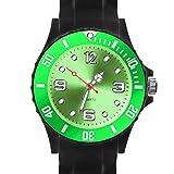 Taffstyle Damen Herren Sportuhr Armbanduhr Silikon Sport Watch Farbige Krone Analog Quarz Uhr 39mm Schwarz Grün
