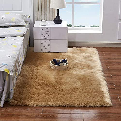 Finta pelliccia di agnello tappeto 50 x 150 cm imitazione lana soggiorno tappeti pelo lungo elastico morbida pelle di pecora tappetino scendiletto, bianco, 50 x 150 cm (marrone, 150 x 50)