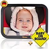TDP24 Rear View Mirror Baby Mirror for More Safety in the Car Shatterproof Car Mirror with Bonus Baby on Board Sign + E-Book I Rear Seat Mirror I Safety Mirror