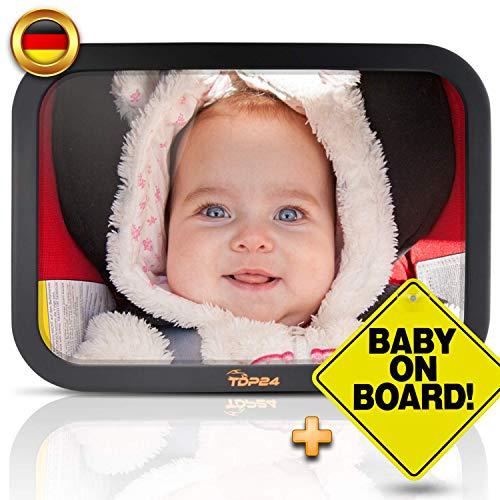 TDP24® Autospiegel Baby - Rückspiegel Baby Auto - Bruchsicherer Rücksitzspiegel für Babys - Spiegel Auto Baby - Baby on board Schild + E-Book - Größe 24,5 x 17,5 cm - Farbe Schwarz