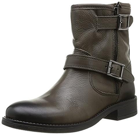 Pieces Iza Leather Zipper Boot, Boots femme - Marron (Dk Grey), 37 EU