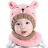 Babybekleidung Schals Longra Winter Gestrickte Hüte Baby Mädchen Schals Kapuze Mönchskutte Beanie Mützen (Pink)
