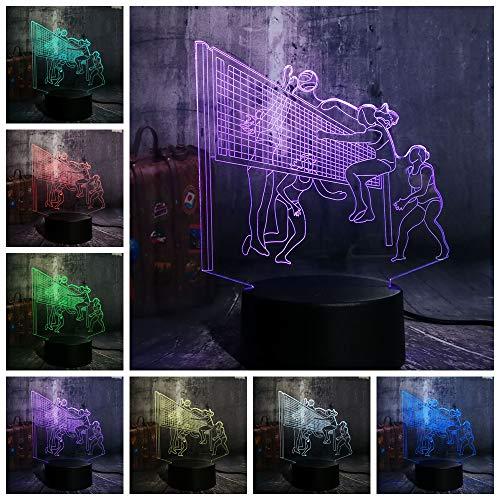 3D Lampe LED Licht 3D Illusion Lampe Nachtlicht Dekoratives 7 Farben Schalter Touch Button&Remote&USB Kreative Dekorationen Volleyball für Kinder Baby Boy Geburtstag