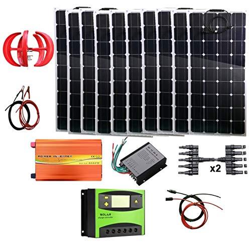 AUECOOR 1,4 kW Wind-Solar-Leistung: 400 W Windturbinen-Generator & 10 Stück 100 W biegbare Solarpaneele & 3000 W reiner Sinuswelle Inverter & Kabelanschluss & Zubehör Heimboot Wohnmobil (Leistung Solar-generator)