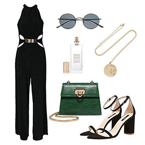 Borsa a tracolla elegante della lucertola di Yoome Tiny Pure Color Flap Vintage Crossbody Chain Shoulder Bag per le ragazze - Nero verde