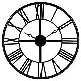 Grande horloge pendule murale en métal style vintage - diamètre 70 cm - Coloris NOIR