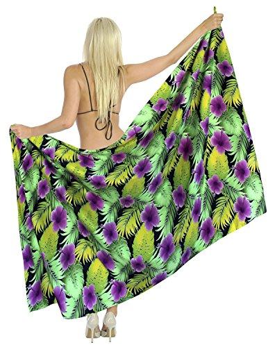 La Leela likre Frauen Pareo Vintage Strand Hibiskus Hawaii wickeln Sarong 78x39violet (Hibiskus Kleid Sarong)