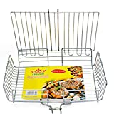 #8: Stainless Steel Rectangular Grilling Basket | Long Wooden Handle | Vegetables Small Foods