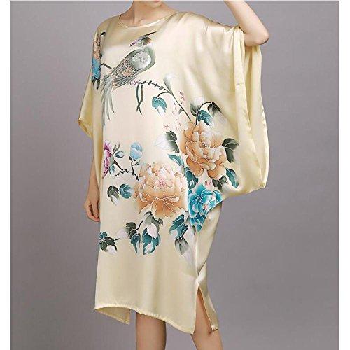 HXQ Frauen Nightgowns Batwing ÄRmel Orientalische Klassische Long Robe Printing Satin NachtwäSche , red Champagne