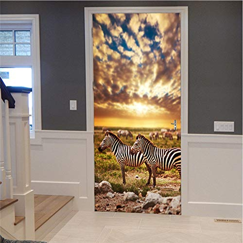 Haipeiy Türaufkleber 3D türaufkleber wandbild Kunst Wand Poster Zebra in Afrika Land abnehmbare Zimmer DIY tapete Aufkleber Hause Tor renovierung förderung