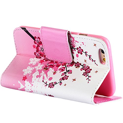 iPhone 6S Hülle Leder,iPhone 6 Hülle Flip Case,iPhone 6 6S Kunstleder Flip Case Schutzhülle,EMAXELERS iPhone 6 Peach Blossom Blumen Muster Painted PU Leder Wallet Case Flip Cover für iPhone 6S,iPhone  Flower 10