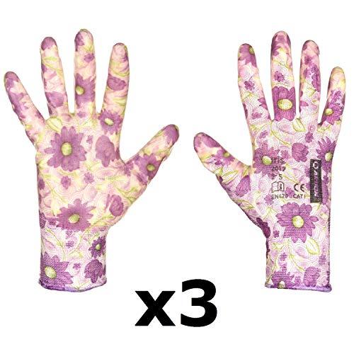 FLOWER bei guanti da lavoro antiscivolo per donna bambina guanti da giardino EN 420 Cat. I guanti da assemblaggio Senza cuciture nitrile di migliore