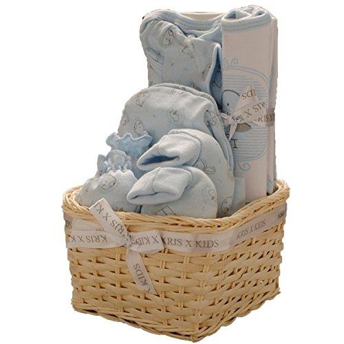 Set de regalo para niño o niña de bebé, body, patucos, gorro y álbum de fotos/marco por Kris X Kids azul Blue Basket