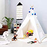 Triclicks Kids Teepee Play Tent - Indian Children Play House - 100% Cotton Canvas Princess Girls Tent for Indoor and Outdoor (White Style B)