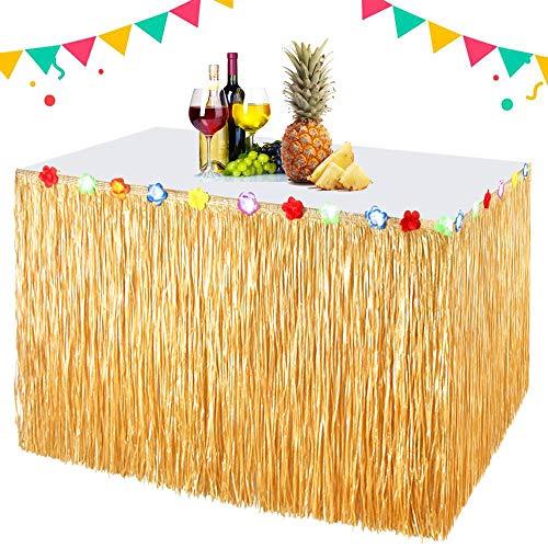 EXTSUD Hawaii Tischröcke 300cm Lange Hawaii Luau Tischrock Tischdeko Party Deko Tischdecke für Hawaii Tiki Bar BBQ Tropischen Garten Strand Sommer Tiki Party Geburtstag Dekoration MEHRWEG (Outdoor-bar Dekorationen)