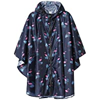 Summer Mae Rain Poncho Jacket Coat for Adults Hooded Waterproof with Zipper Outdoor Blue Flamingo