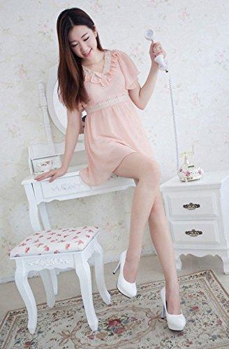 La Vogue 1 Paire Escarpins Bout Rond Cuir Plateforme Chaussures Mode Femme Talons Haut Aiguilles Blanc