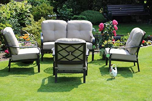 Aluguss Gartenmöbel Set, Gartenmöbelgarnitur bestehend aus 1 Garten-Sofa und 3 Garten-Sessel - Club-sessel Set