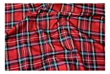 Fabrics-City % ROT ORIGINAL SCHOTTENKARO STOFF TARTAN STOFFE, 2410