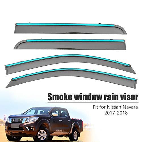 Piaobaige Per Nissan Navara 2017 2018 4 Pezzi Coperture per Auto Visiera per Finestra Sole Pioggia Deflettore Tendalino Scudo ABS
