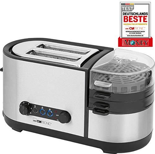 Grille-pain Clatronic TAM 3688 263830 2 brûleurs, adaptation automatique de la température, avec pique-œuf, avec grille
