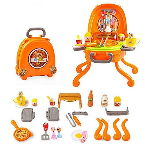 Puppenhaus Pretend Play Ice Cream Pizza BBQ Hamburger Essen BBQ Hot Dog Fisch Fleisch Warenkorb Trolley Küche Kochen Set Spielzeug mit Musik und Beleuchtung für Kinder und Mädchen Pretend Play Toys Pu