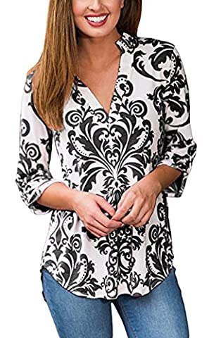 Hibluco Women's Sexy Deep V-neck Blouse Floral T-Shirt Loose Asymmetry Tops (Large, K3)