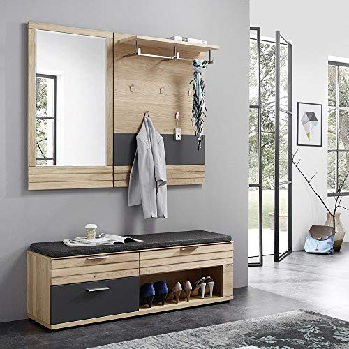 Lomadox Massives Garderobenset Wildeiche Bianco geölt mit Lack Graphit, montierte Möbel