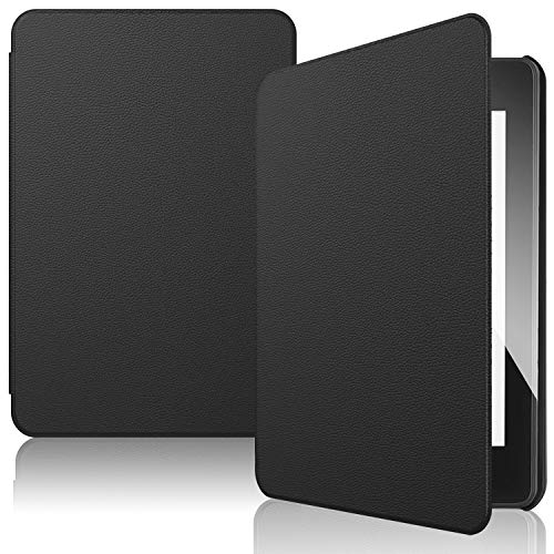 IVSO Funda Carcasa para Nuevo Kindle Paperwhite 2018, Slim PU Protectora Carcasa Cover para Amazon Kindle Paperwhite (10th Generation, 2018 Release), Negro