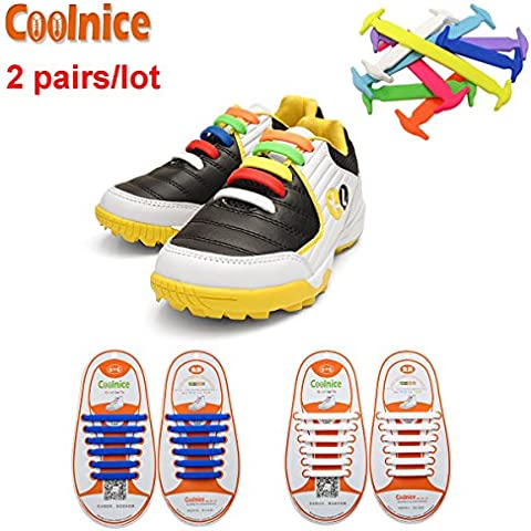 Coolnice® 2 coppie lacci elastici per i bambini Elastic Stretch Silicon impermeabile ambientali sicuro pulire divertente fai da te 2 Colore 2 * 12pcs