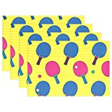 MyDaily - Tovagliette Colorate a Forma di Pipistrello da Ping Pong, Resistenti al Calore, Lavabili in Poliestere, Poliestere, Multi, 12 x 18 inch