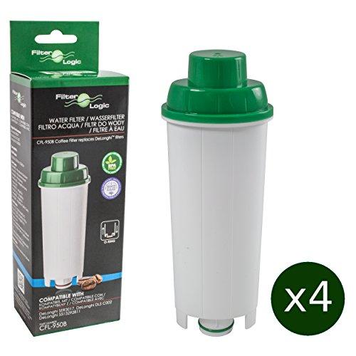 4 x FilterLogic CFL-950B - Wasserfilter für DeLonghi Kaffeemaschine - ersetzt DLS C002 / DLSC002 / SER3017 / SER 3017 / 5513292811 Filterkartusche - passend für ECAM ETAM ESAM EC685 EC860 BCO Modelle