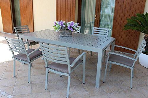 Tavolo da esterno allungabile, cm 200/300x100 con 4 sedie senza braccioli. colore tortora in alluminio, da esterno, per giardino portico terrazzo bar ristorante hotel albergo gelateria agriturismo, molto resistente