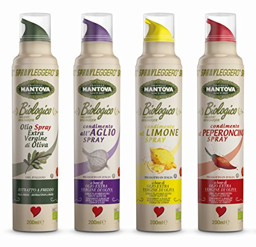 Olio biologico spray extra vergine di oliva 100% italiano e aromatizzati (4 flaconi)